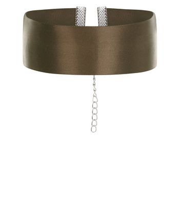 Khaki Wide Ribbon Choker New Look
