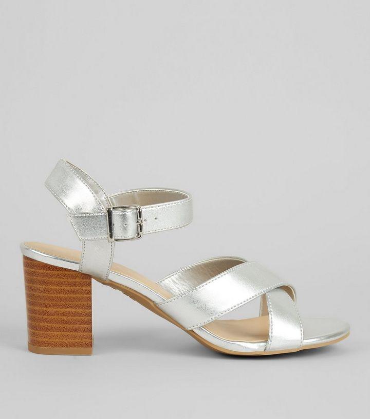 2fcabf414cc Teens Silver Cross Strap Contrast Block Heels