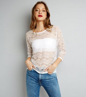 JDY White Sheer Top New Look