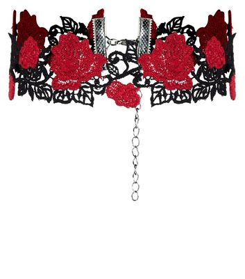 Burgundy Rose Tattoo Lace Choker New Look