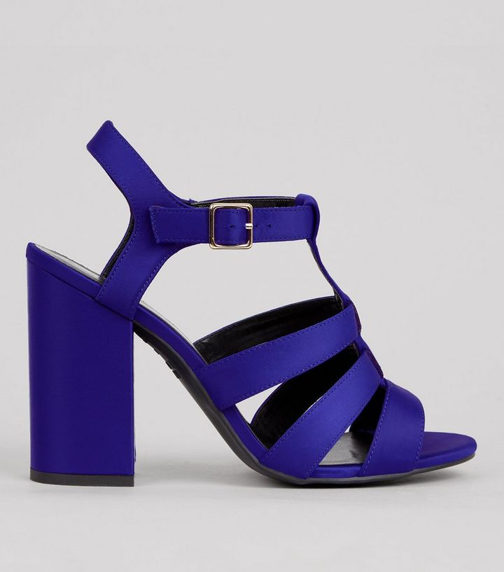 6fcb96fa41ae Blue Satin Gladiator Block Heels