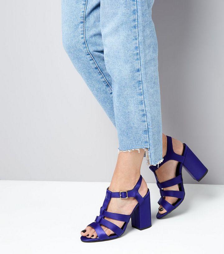 3e7f6224adc7 ... Blue Satin Gladiator Block Heels. ×. ×. ×. VIDEO Shop the look