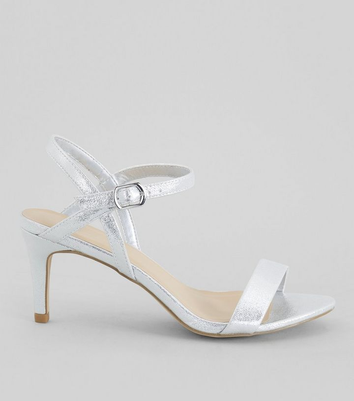 322a32096 Silver Ankle Strap Heeled Sandals | New Look