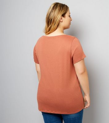 Curves Light Brown Scoop Neck T-Shirt New Look