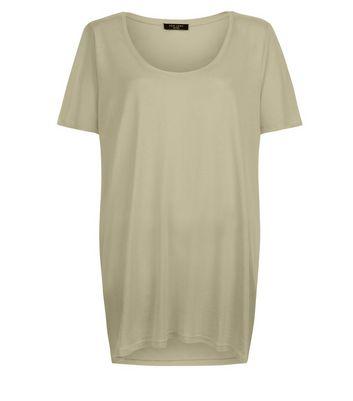 Curves Khaki Scoop Neck T-Shirt New Look