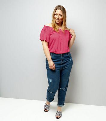 Curves Bright Pink Shirred Bardot Neck Top New Look