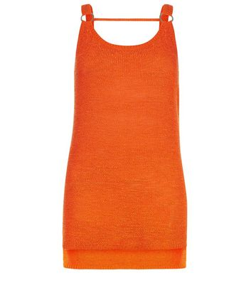 Orange Ring Trim Step Hem Vest New Look