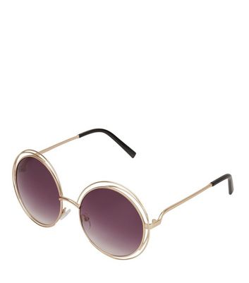 Gold Metal Round Sunglasses New Look
