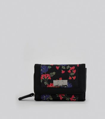 Black Small Floral Print Purse New Look