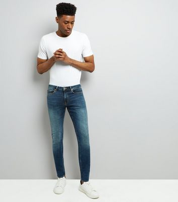 Blue Washed Skinny Stretch Jeans New Look