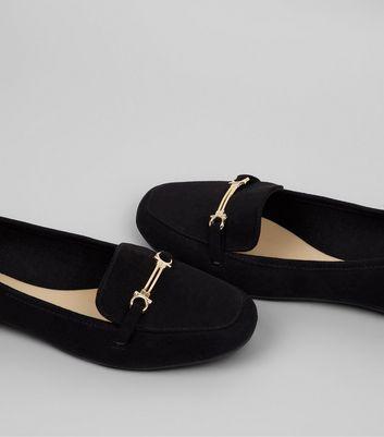 Teens Black Suedette Metal Bar School Loafers New Look