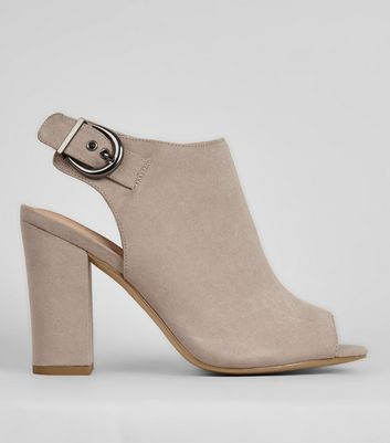 Grey Comfort Sling Back Buckle Strap Heels New Look
