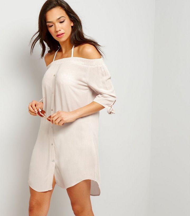 79d4ddb81c650 Shell Pink Bardot Beach Shirt | New Look