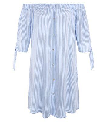 Blue Stripe Bardot Neck Tie Sleeve Dress New Look