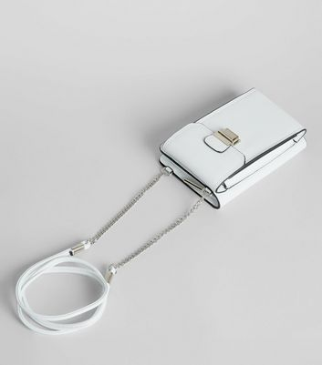 White Push Lock Camera Bag New Look