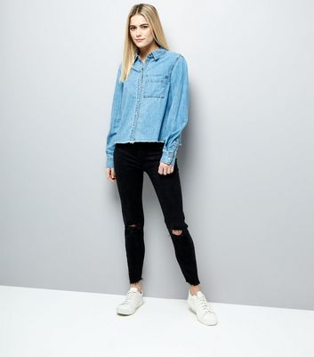 Blue Frayed Hem Denim Shirt New Look