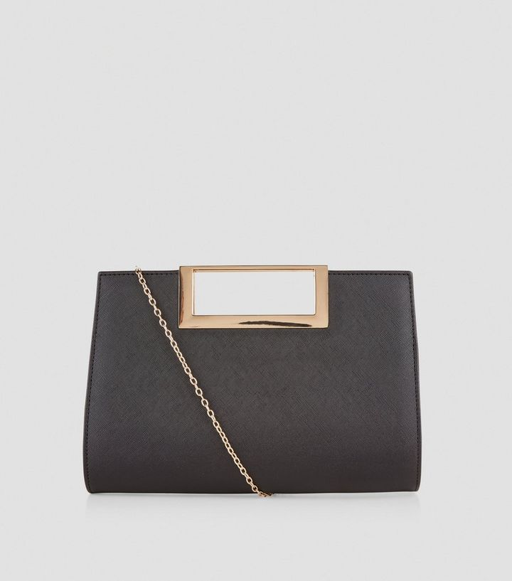 drop shipping quality design cheaper Black Metal Trim Handle Clutch Bag Add to Saved Items Remove from Saved  Items