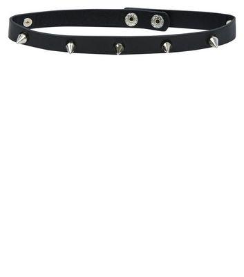 Black Spike Studded Choker New Look
