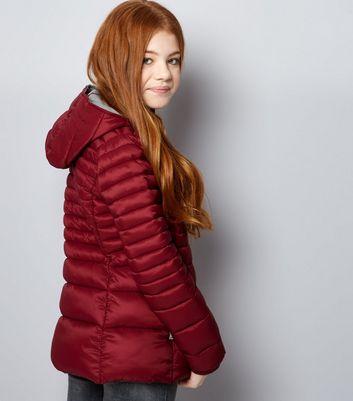 Teens Red Lightweight Puffer Jacket New Look