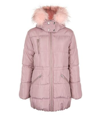 Teens Pink High Shine Faux Fur Trim Hooded Puffer Jacket New Look