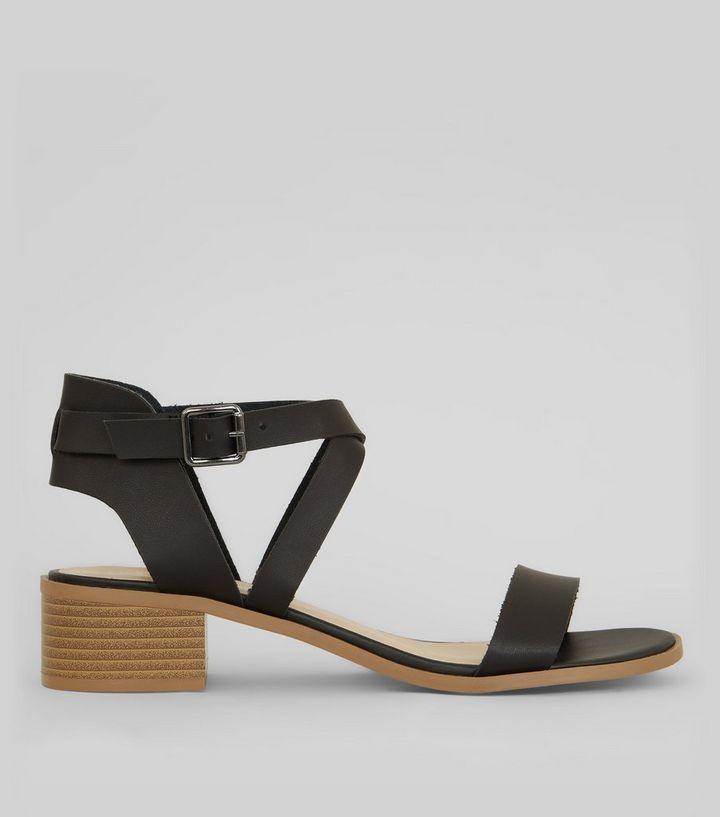 d0b08f516f6bf Black Cross Strap Sandals | New Look