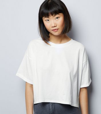 White Ripped Short Sleeve Crop Top New Look