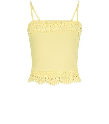 Yellow Lace Trim Cropped Cami Top New Look