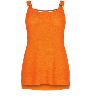 Curves Orange Ring Trim Step Hem Vest New Look