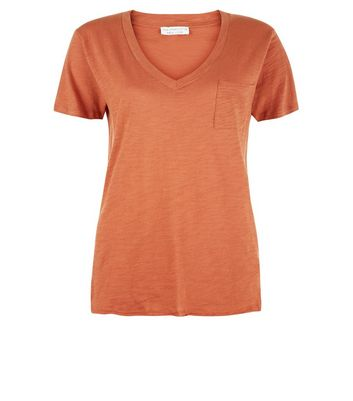 Light Brown Organic Cotton V Neck T-Shirt New Look