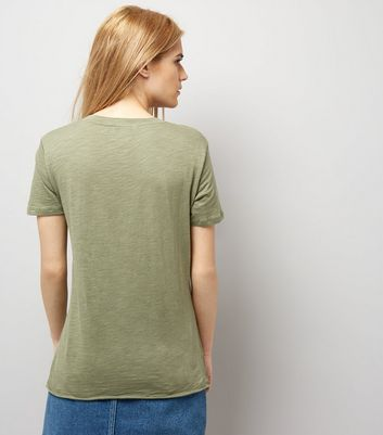 Olive Green Organic Cotton V Neck T-Shirt New Look