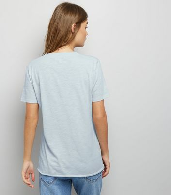 Pale Blue Organic Cotton V Neck T-Shirt New Look