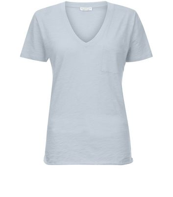 Pale Blue Organic Cotton V Neck T-Shirt New Look