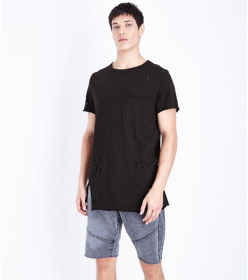 black distressed pocket front longline t