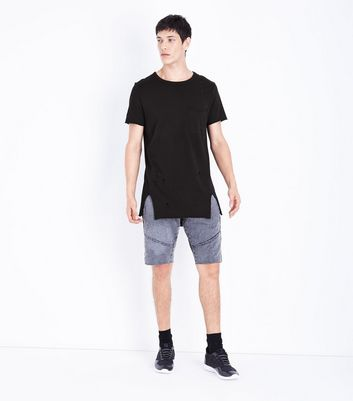 Black Distressed Pocket Front Longline T-Shirt New Look