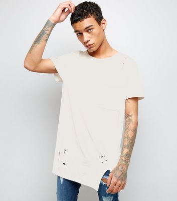 White Distressed Pocket Front Longline T-Shirt New Look