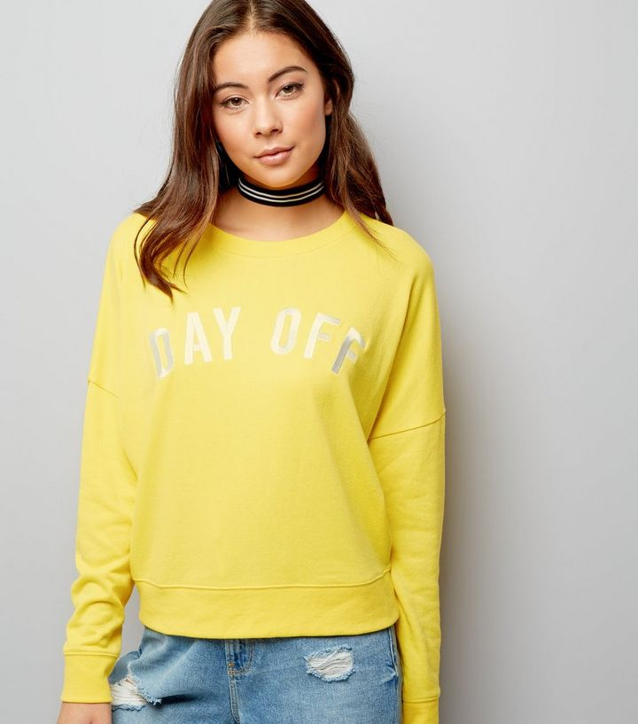 55238453b68e Yellow Day Off Embroidered Sweater | New Look