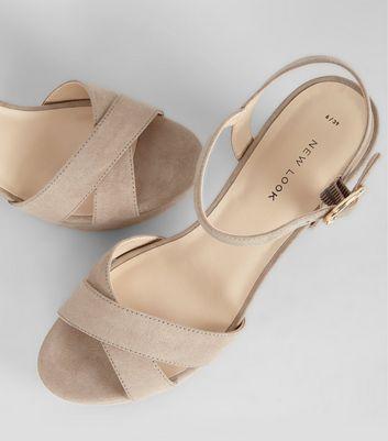 Mink Suedette Cross Strap Block Heels New Look
