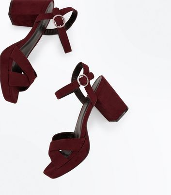 Burgundy Suedette Cross Strap Block Heels New Look