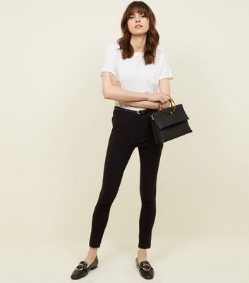 Black Belted Slim Leg Stretch Trousers