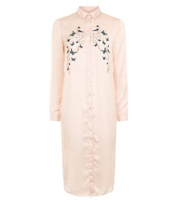 Blue Vanilla Shell Pink Floral Embroidered Longline Shirt New Look