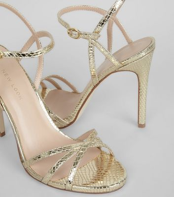 Gold Snakeskin Textured Cross Strap Heels New Look