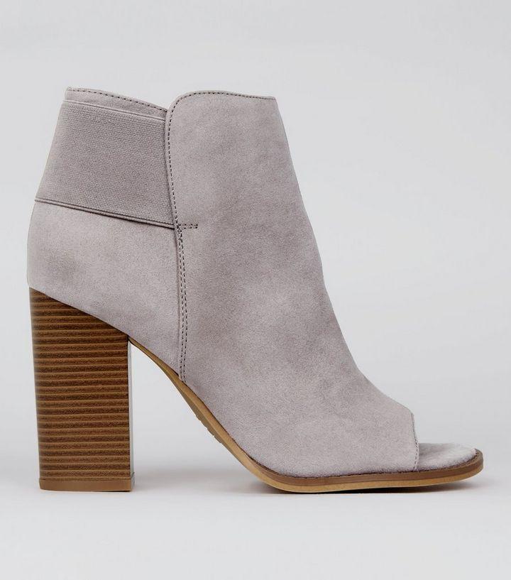 Grey Suedette Peep Toe Boots  8699adf31cc5