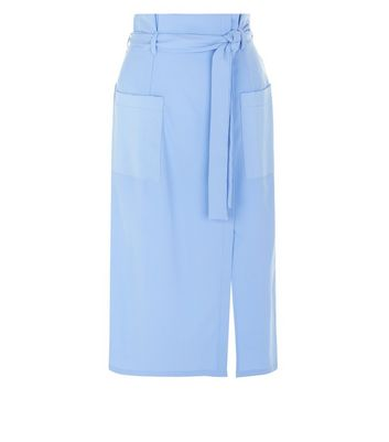 Blue Wrap Front Crepe Midi Skirt New Look