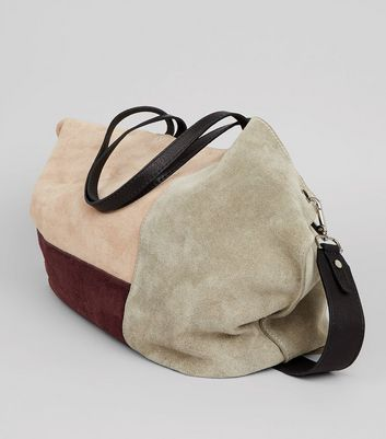 Nude Pink Suede Colour Block Tote Bag New Look