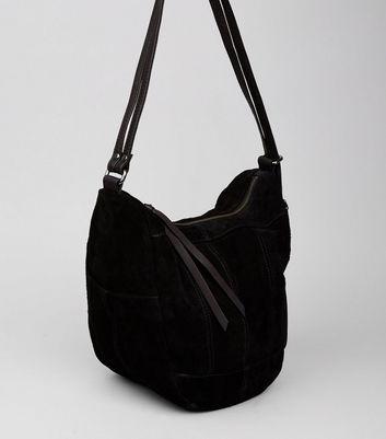 Black Suede Hobo Backpack New Look