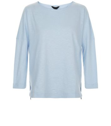 Pale Blue 3/4 Sleeve Top New Look