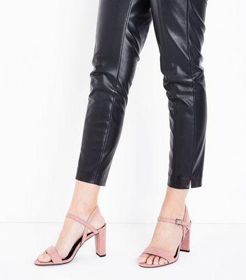 Wide Fit Pale Pink Suedette Cross Strap Side Heels New Look