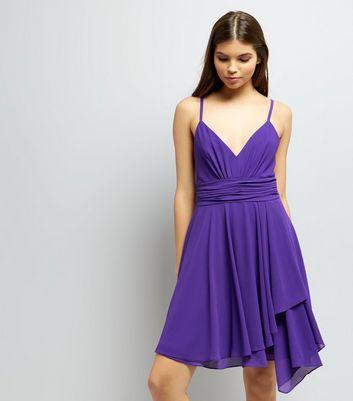 Purple Asymmetric Hem Chiffon Prom Dress New Look