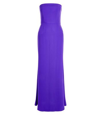 Purple Bardot Maxi Bridesmaid Dress New Look
