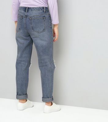 Teens Blue Ripped Knee Mom Jeans New Look